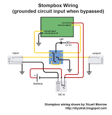 how to wire up a stomp box effects pedal diy strat and other while the circuit is bypassed the circuit input is connected to the ground wire going into the centre pin pin 5 of the switch when the switch is engaged
