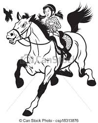 horse riding clipart black and white. Brilliant Riding Cartoon Girl Riding Horse  Csp18313876 For Horse Riding Clipart Black And White R