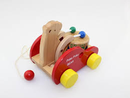 wooden educational toys drag the toy car bear drums toddler animal cart children s toys