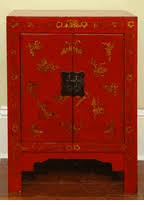 red lacquered furniture. Furniture Red Lacquered Chinese Cabinet With 2-Doors, Butterfly Motif A