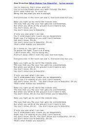 Baby You Light Up My World Like Nobody Else Lyrics 04 One Direction What Makes You Beautiful