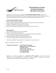 Sample Resume: Dance Teacher Cover Letter Sle Resume.