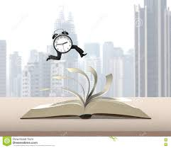 clock running on top of flipping pages of open book on wooden table with city view background 3d rendering