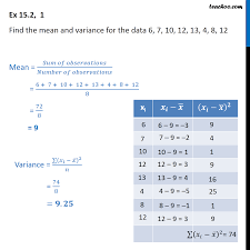 Ex 15.2, 1 - Find mean and variance for 6, <b>7</b>, <b>10</b>, <b>12</b>, <b>13</b>