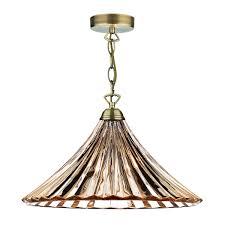 ardeche 1 lighting large pendant amber glass antique brass finish