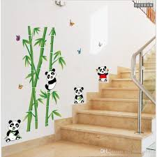 wallmates home decor mural vinyl wall sticker removable cute panda eating bamboo nursery room wall art decal paper designer wall decals designer wall