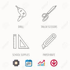 Paper Knife School Supplies And Scissors Icons Drill Tool Linear