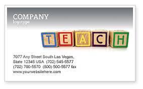 Preschool Institution Business Card Templates In Microsoft