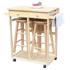 Image Ikea Ssline Rolling Kitchen Island With Seating 3pcs Dining Table Set With Stools Wood Drop Amazoncom Amazoncom Ssline Rolling Kitchen Island With Seating 3pcs Dining