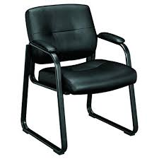 hon guest chairs. HON Client Sled Base Guest Chair - Leather Reception Chair, Black (HVL693) Hon Chairs U