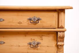 antique grunderzeit 4 drawer chest of drawers in pine with original nickle plated hardware and feet c 1890