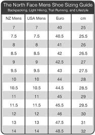 North Face Shoe Size Chart Torpedo7 Sizing Information Chart