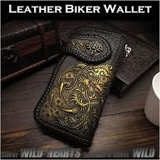 custom leather biker wallet