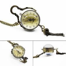 whole antique vintage glass ball bull eye necklace pendant chain quartz pocket watch men women gift pocket watches pocket watch from