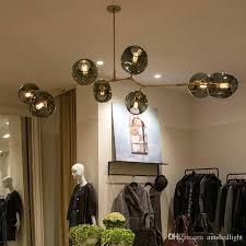 gold glass pendant light personalized molecular glass pendant lamp minimalist plated gold black pendant light guest