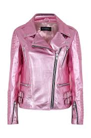 pink metallic leather biker jacket