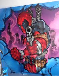 Marvel Bedroom Marvels Deadpool Graffiti Art Kids Bedroom Mural Cardiff