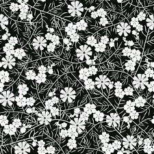 シームレスな白と黒の花模様のベクター イラストです白いシンプルな花と黒の背景の薄い葉