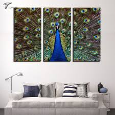 Peacock Color Living Room Aliexpresscom Buy 3 Piece Canvas Art The Wall Paintings Peacock