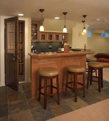decoration, Wooden Mini Bar Table Units Completed With Charming Four  Hanging Lights Fixture Plus Excellent