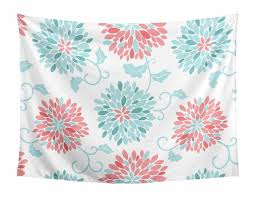 turquoise and c fl wall hanging tapestry art decor for emma collection by sweet jojo designs