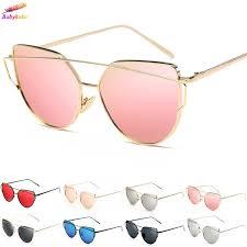 Vintage <b>Fashion Women's Glasses</b> Metal Flat Lens Mirrored ...