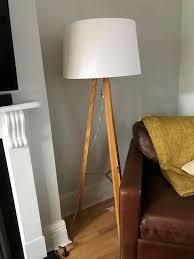 west elm tripod floor lamp wood and chrome