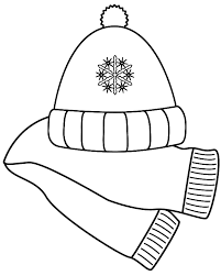 Small Picture Scarf and Winter Hat Coloring Page Christmas