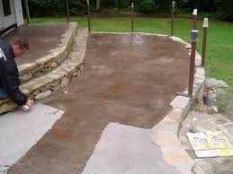 stained stamped concrete patio. Concrete Driveway Rhode Island Exposed Artistic Stained Stamped Patio