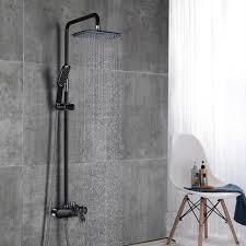 Duscharmatur Schwarz Duschsystem Rainshower Regendusche Duschset Brausegarnitur Mit Duschkopf Und Handbrause Dusche Armatur Mit überkopfbrause Für