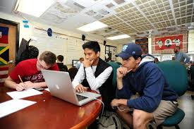 stamford high school juniors jude infante center and joey re watch a
