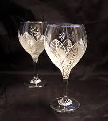Painted Wine Glasses Wedding Hand Painted Wine Moon Flower Pair