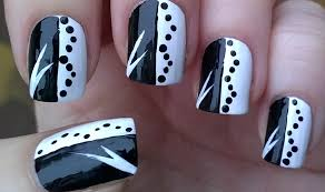 Black & White MONOCHROME NAIL ART Design For Beginners - DIY Easy ...