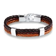 brow leather wrap bracelet for men handmade with leather and stainless steel silver clasp