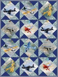Airplanes Vintage Fighter Planes 12 Pre-Cut Quilt Kit 8  Blocks ... & Airplanes Vintage Fighter Planes 12 Pre-Cut Quilt Kit 8