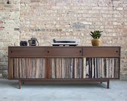 mid century record cabinet. Mid Century Inspired Hand Crafted Record Cabinet // Vinyl Storage Walnut - Holds 425+ Records E