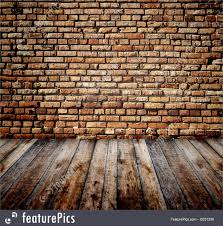 interior architecture old room with brick wall and wooden floor