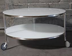 Round White Glass Coffee Table
