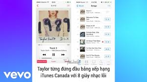 Taylor Swift Itunes Chart 8 Seconds Of Static Put Taylor Swift At No 1 On Canada S Itunes Chart
