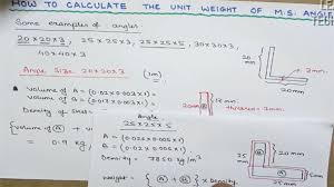 Ms Angle Weight Chart How To Calculate The Weight Of M S Angle For Billing