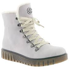 Light Grey Boots Womens Rieker Womens Namur Light Grey Leather Lace Up Ankle Boots Y3432 40