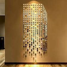 self large luxury stick tiles diy mosaic little squares d acrylic mirror wall sticker living room sofa tv background decoration metal