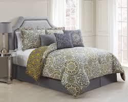 11 piece jezebel gray yellow reversible bed in a bag w 600tc cotton sheet set com