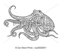 octopus coloring book for s vector