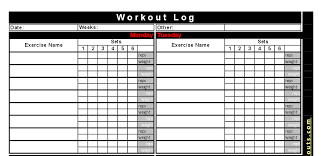 best free printable workout logs