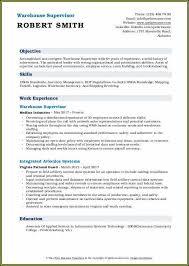 Warehouse Supervisor Resume Electrician Supervisor Resume Examples Resume Resume