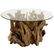plymouth coastal beach teak driftwood round glass coffee table kathy kuo home