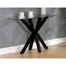 langley black console table with unique legs design and glass table top