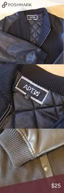 apt 9 black er jacket mens apt 9 black er jacket size x l tears on right sleeve apt 9 jackets coats er varsity