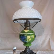 art nouveau antique oil kerosene table lamp milk glass